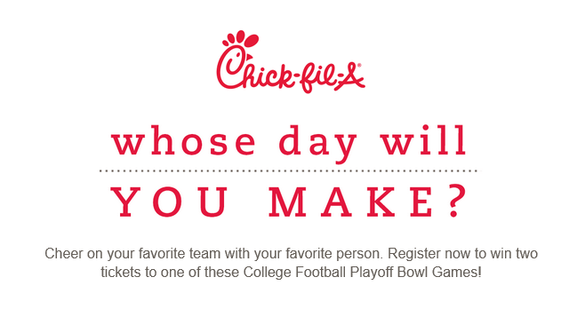 Chick-fil-A College Football Playoff Ticket Sweepstakes (Chick-Fil-A.com/CFP)