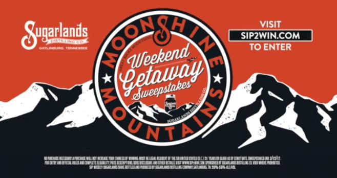 Moonshine and Mountains Weekend Getaway Sip 2 Win Sweepstakes