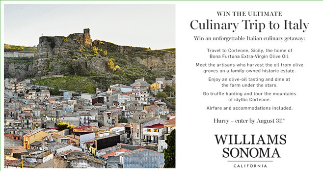 Williams Sonoma Win A Trip To Italy Sweepstakes