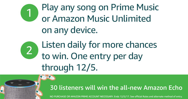 Amazon Music Holiday Echo Sweepstakes 2017