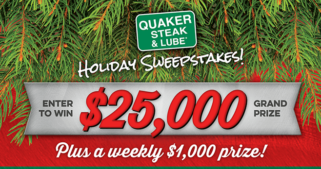 Quaker Steak & Lube $25,000 Holiday Sweepstakes 2017