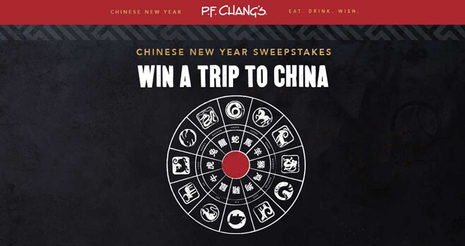 P.F. Chang's Chinese New Year Sweepstakes and Instant Win 2018