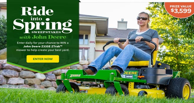 Better Homes and Gardens Ride into Spring Sweepstakes with John Deere (BHG.com/DeereGiveaway)