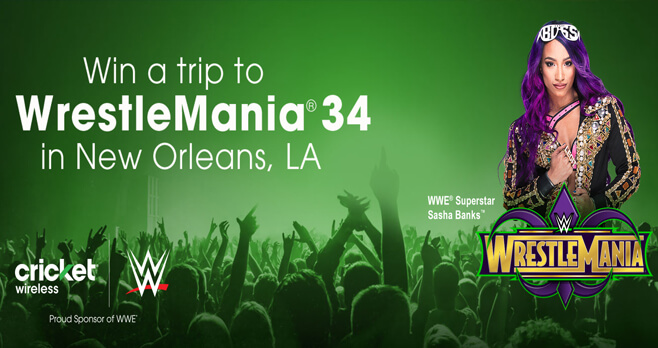 Cricket Wrestlemania 34 Sweepstakes