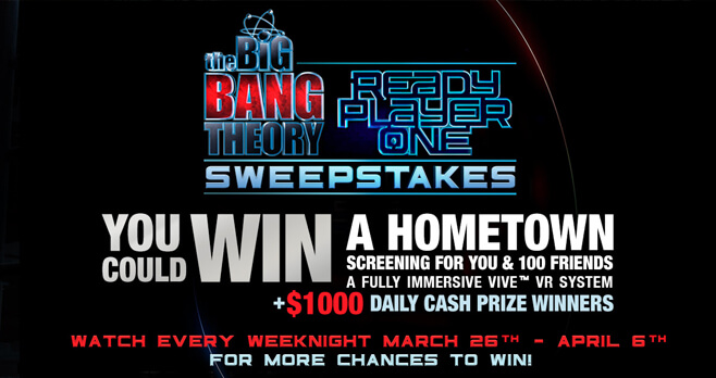 The Big Bang Theory Weeknights Ready Player One Sweepstakes