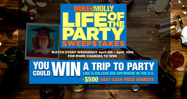 Mike And Molly Life of the Party Sweepstakes 2018 (MikeAndMollyWeekNights.com)