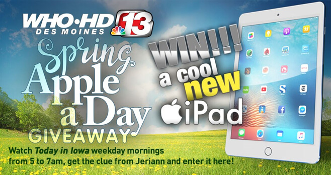 Channel 13 Who TV Apple A Day Giveaway