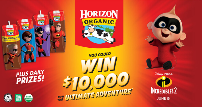 Horizon Organic Disney Pixar Incredibles 2 Sweepstakes