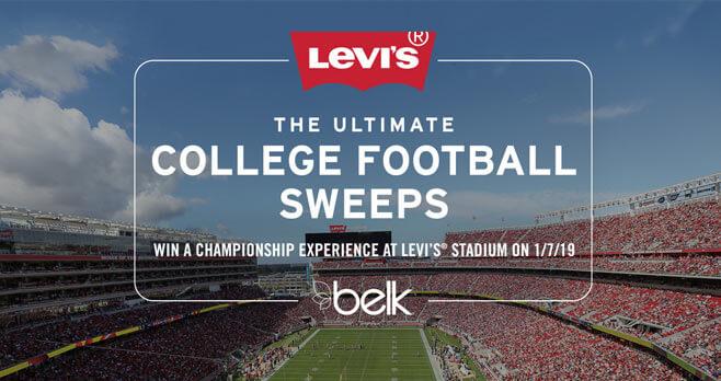 Belk Levi's Stadium College Football Championship Sweepstakes