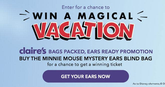Claire's Bags Packed, Ears Ready Sweepstakes