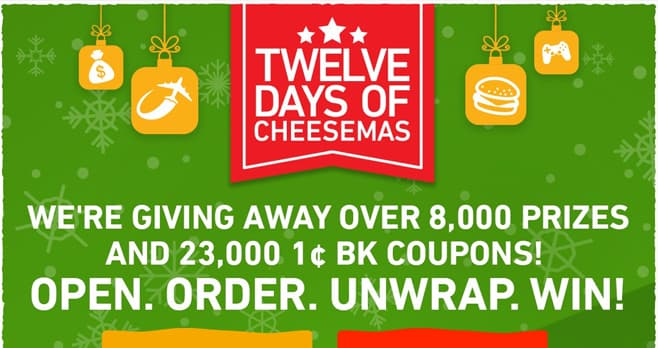 Burger King 12 Days Of Cheesemas Sweepstakes