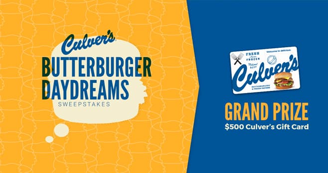 Culver's ButterBurger Daydreams Sweepstakes