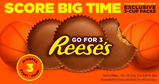 Reese's Go For Three March Madness Instant Win Game