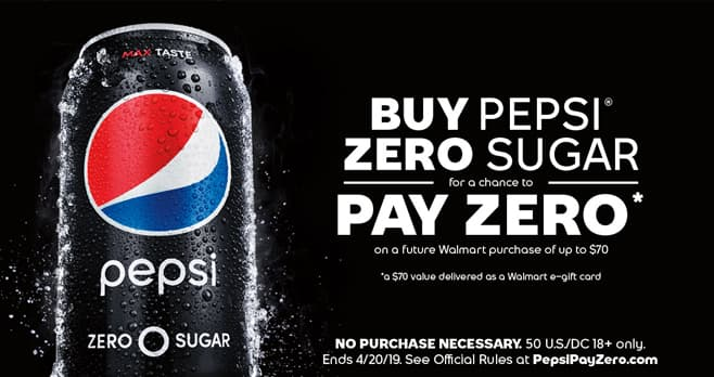 Pepsi Pay Zero Instant Win Game (PepsiPayZero.com)