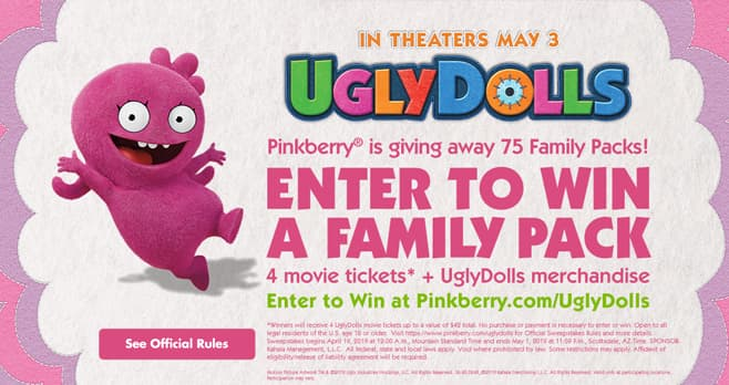 Pinkberry UglyDolls Sweepstakes