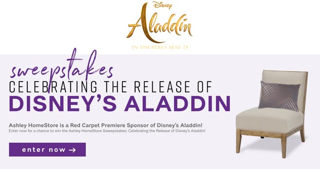 Ashley HomeStore Disney's Aladdin Sweepstakes