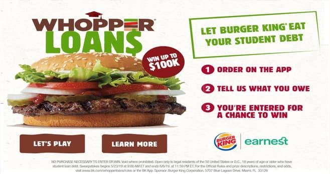 Burger King Student Loan Contest (BK.com/WhopperLoans)
