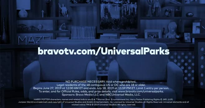 Bravo TV Universal Parks Contest