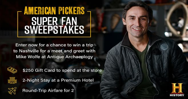 History Channel American Pickers Contest (History.com/PickerSweeps)