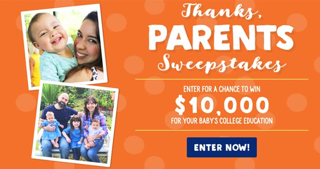 Stonyfield Thanks Parents Sweepstakes