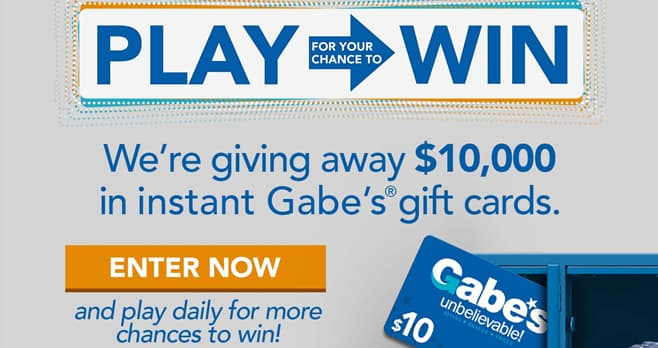 Gabe's Back to School Instant Win Game