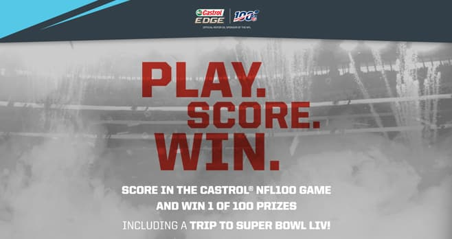 Castrol EDGE NFL100 Score And Win Sweepstakes (PlayScoresWin.com)
