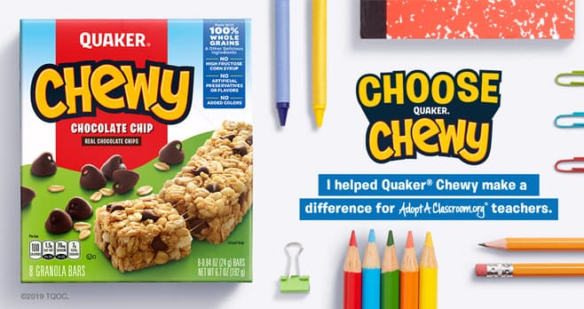 Quaker Choose Chewy Sweepstakes (ChooseChewy.com)