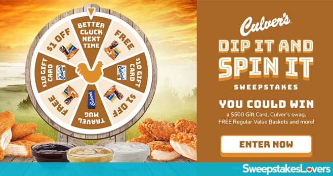Culver's Dip It and Spin It Instant Win Game & Sweepstakes