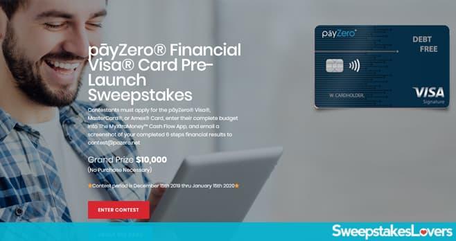p?yZero Financial Visa Card Pre-Launch Sweepstakes