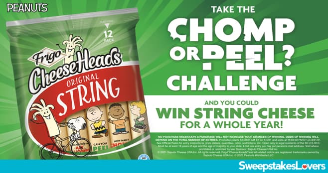 Frigo Cheese Heads Chomp vs. Peel Challenge Sweepstakes 2021