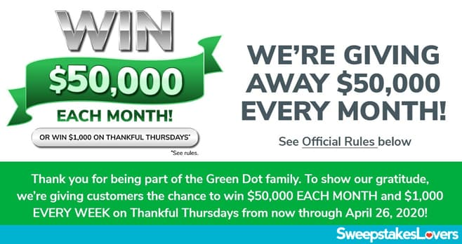Green Dot $50K Giving Thanks Sweepstakes 2020
