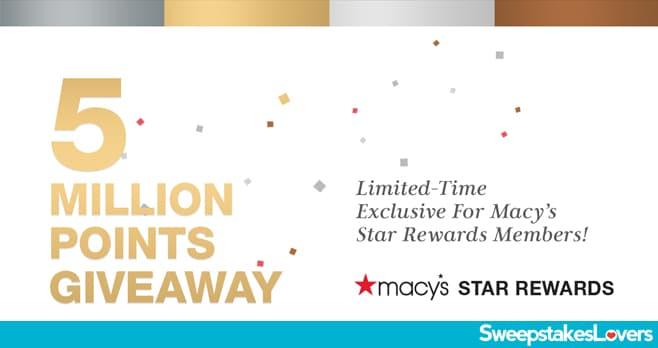 Macy's Star Rewards Five Million Points Giveaway 2020