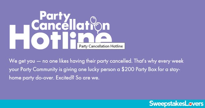 Party City Cancelled Party Hotline Giveaway 2020