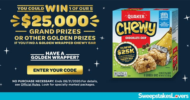 Quaker Golden Chewy Instant Win Game 2020