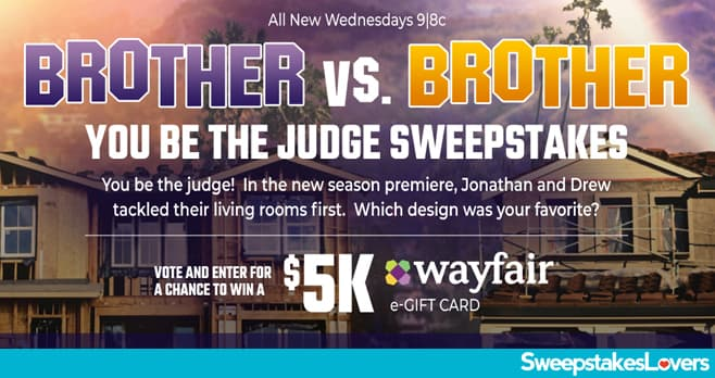 HGTV Brother vs Brother You Be The Judge Sweepstakes 2020