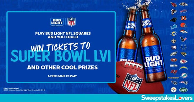 Bud Light NFL Squares Sweepstakes 2021