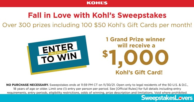 Fall in Love with Kohl's Sweepstakes 2021