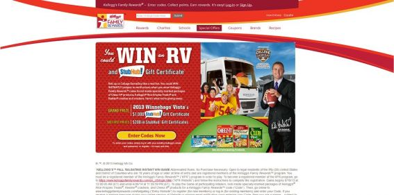 recreational vehicle sweepstakes kelloggsfamilyrewards com tailgating kellogg s fall 7513